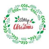 Plantilla dibujada mano de la tarjeta de Navidad Vector Fotografía de archivo