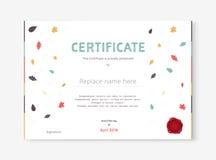Plantilla dibujada mano del certificado diseño de la plantilla del diploma Vector libre illustration