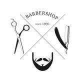 Plantilla dibujada mano del logotipo de la barbería ilustración del vector