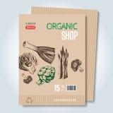 Plantilla dibujada mano para la venta en tienda vegetariana Foto de archivo libre de regalías