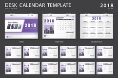 Plantilla 2018, diseño púrpura del calendario de escritorio de la cubierta, ilustración del vector
