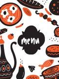 Plantilla divertida del menú del garabato con el ejemplo de la comida de Oriente Medio tradicional Vector libre illustration