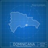Plantilla Dominicana del mapa del modelo con el capital ilustración del vector