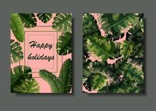 Plantilla dual de la postal del vector con las hojas de palma verdes ilustración del vector