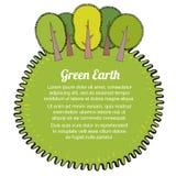 Plantilla ecológica del concepto con los árboles Tierra verde de Eco Ilustración del vector Fotografía de archivo