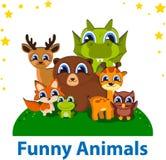 Plantilla Editable del vector de los animales divertidos Imagen de archivo