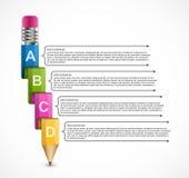 Plantilla educativa de Infographics con el lápiz Infographics para la bandera de las presentaciones o de la información del negoc libre illustration