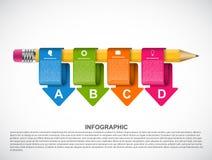 Plantilla educativa de Infographics con las flechas coloreadas stock de ilustración