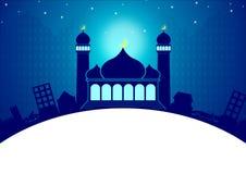 Plantilla Eid y el Ramadán de la tarjeta de felicitación Imagenes de archivo