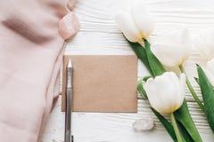Plantilla elegante de la tarjeta de felicitación con los tulipanes y cristales y pluma Fotos de archivo libres de regalías
