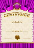 Plantilla elegante del certificado, diploma Imagenes de archivo