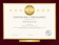 Plantilla elegante del certificado para la excelencia, logro ilustración del vector