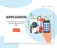 Plantilla elegante del diseño de la página del aterrizaje de la página web del vector de los aparatos electrodomésticos libre illustration