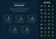 Plantilla, elementos e iconos infographic que hacen compras Imágenes de archivo libres de regalías