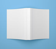 Plantilla en blanco blanca del libro de cubierta suave en azul Imagen de archivo libre de regalías