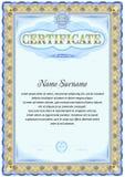 Plantilla en blanco del certificado Diseño del vintage Gamma azul del color Fotografía de archivo libre de regalías