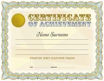 Plantilla en blanco del certificado Diseño del vintage Gamma azul del color Imágenes de archivo libres de regalías