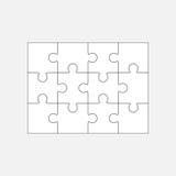 Plantilla en blanco 4x3, doce pedazos del rompecabezas Fotos de archivo