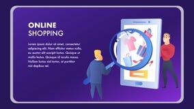 Plantilla en línea del vector del elemento de la página web que hace compras libre illustration