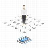 Plantilla en un tema de nuevo a escuela con una hoja en una caja Un sistema de elementos del dibujo y de smartphone isométrico pa Foto de archivo