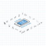 Plantilla en un tema de nuevo a escuela con una hoja en una caja Un sistema de elementos del dibujo y de smartphone isométrico pa Imagen de archivo