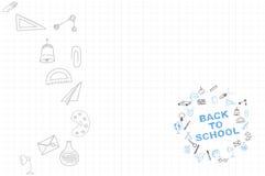 Plantilla en un tema de nuevo a escuela con una hoja en una caja Un sistema de los elementos del dibujo para la educación con los Imagen de archivo