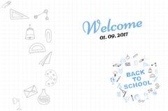Plantilla en un tema de nuevo a escuela con una hoja en una caja Un sistema de los elementos del dibujo para la educación con los Fotografía de archivo libre de regalías