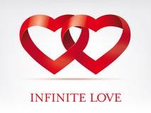 Plantilla entrelazada cinta del vector de los corazones del infinito libre illustration