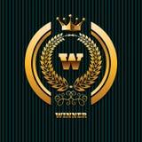 Plantilla EPS 10 del logotipo de la corona del oro de la propiedad de las propiedades inmobiliarias del logotipo del ganador Imágenes de archivo libres de regalías