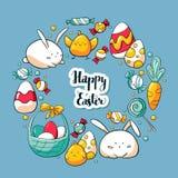 Plantilla exhausta de la tarjeta del garabato de la mano con los elementos lindos de Pascua Letras felices de Pascua Elementos de stock de ilustración