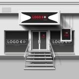 Plantilla exterior del vector de la tienda escaparate 3d con la puerta de entrada Fotos de archivo libres de regalías