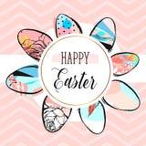 Plantilla feliz creativa dibujada mano del diseño de la tarjeta de felicitación de Pascua del extracto del vector con la colecció ilustración del vector