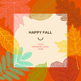 Plantilla feliz de la caída con las hojas de otoño y el texto simple Fotos de archivo libres de regalías
