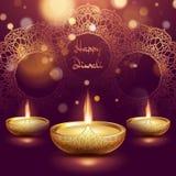 Plantilla feliz de la l?mpara de aceite del diya del diwali Festival hind? de Deepavali del indio de luces EPS 10 stock de ilustración