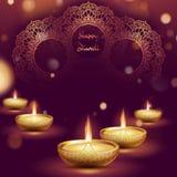 Plantilla feliz de la l?mpara de aceite del diya del diwali Festival hind? de Deepavali del indio de luces EPS 10 libre illustration
