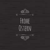 Plantilla feliz de la tarjeta de felicitación de Pascua con el texto de Frohe Ostern del alemán Ilustración del vector stock de ilustración