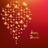 Plantilla feliz de la tarjeta de Diwali El festival de luces indio EPS 10 ilustración del vector