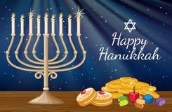 Plantilla feliz de la tarjeta de Jánuca con luces de una vela y decoraciones
