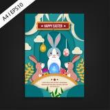 Plantilla feliz del aviador de Pascua Diseño del corte del papel ilustración del vector