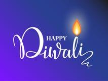 Plantilla feliz del diseño del papel pintado de las letras de Diwali ejemplo de quemar la lámpara de aceite del diya de Diwali pa ilustración del vector