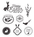 Plantilla feliz, iconos, muestras con los pájaros, huevos y conejo de Pascua Imágenes de archivo libres de regalías