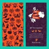 Plantilla fina de la tarjeta de la invitación del partido de Halloween del vector con las brujas espeluznantes, calabazas, fantas ilustración del vector
