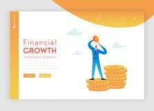 Plantilla financiera de la página del aterrizaje del crecimiento de la inversión Hombre de negocios plano Character con la bombil libre illustration