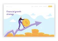 Plantilla financiera de la página del aterrizaje de la estrategia del crecimiento Hombre de negocios plano Character Saving Money libre illustration