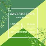 Plantilla floral de la invitación de la boda Ahorre la tarjeta de fecha con el lugar para su texto y hojas tropicales Imagen de archivo libre de regalías