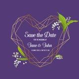 Plantilla floral de la invitación de la boda con los elementos geométricos Ahorre el marco de la fecha con el lugar para el texto Imágenes de archivo libres de regalías