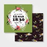 Plantilla floral de la invitación de la guirnalda imagenes de archivo