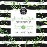 Plantilla floral de la tarjeta de la invitación o de la enhorabuena de la boda con las hojas tropicales Ahorre el marco florecien Fotografía de archivo