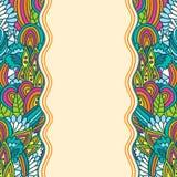 Plantilla floral ondulada del bosquejo Fotografía de archivo