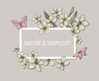 Plantilla floral tropical con los manojos, las flores y las hojas exhaustos de la mano del plumeria y de las mariposas Perfeccion ilustración del vector